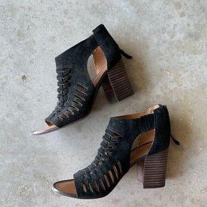 Franco Sarto Black Chunky Open Toe Heels Size 7